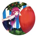 10s 1girl apple apple_tree arms_behind_back bangs bitten_apple blue_eyes copyright_name food from_side fruit grisaia_(series) grisaia_no_kajitsu heiwari_kanade highres leaning_forward long_hair looking_at_viewer open_mouth oversized_object purple_hair saliva saliva_trail school_uniform sidelocks smile solo suou_amane tree very_long_hair
