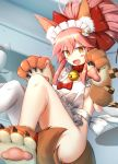 1girl animal_ears apron basa_rutan bell bell_collar blush blush_stickers bow cake checkerboard_cookie collar cookie fate/grand_order fate_(series) food fox_ears frilled_apron frills hair_bow hairband hands_up highres jingle_bell naked_apron open_mouth paws red_bow single_thighhigh smile solo tamamo_(fate)_(all) tamamo_cat_(fate) thigh-highs white_legwear