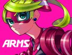 1girl arms_(game) blonde_hair close-up closed_mouth copyright_name domino_mask earrings green_eyes hair_ribbon jewelry mask masshi pink_background ribbon ribbon_girl_(arms) serious simple_background