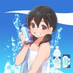 1girl black_hair bottle can can_to_cheek doraemon grin long_hair looking_at_viewer minamoto_shizuka pocari_sweat pop_kyun smile soda_can solo twintails water_bottle wet