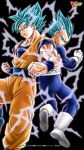 2boys back-to-back black_background blue_eyes blue_hair boots dougi dragging dragon_ball dragon_ball_super fighting_stance gloves highres looking_at_viewer looking_back multiple_boys official_art serious short_hair son_gokuu spiky_hair super_saiyan_blue vegeta