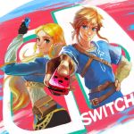 1boy 1girl black_pants blonde_hair blue_eyes braid butiboco earrings eyebrows fingerless_gloves french_braid gloves green_eyes handheld_game_console highres jewelry link long_hair looking_at_viewer nintendo nintendo_switch pants pointing pointing_at_viewer pointy_ears ponytail pouch princess_zelda shirt sidelocks sketch smile the_legend_of_zelda the_legend_of_zelda:_breath_of_the_wild