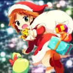 1girl bag bangs blurry boots bow brown_boots brown_hair carrying depth_of_field dress gift girls_und_panzer green_eyes hat kosame_koori long_sleeves looking_at_viewer looking_back medium_dress open_mouth oversized_object red_dress red_hat running sakaguchi_karina santa_costume santa_hat short_hair solo standing yellow_bow