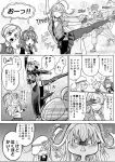 10s 1boy 6+girls :< :3 admiral_(kantai_collection) ahoge ainu_clothes arashi_(kantai_collection) ballet bandanna blush breasts comic commandant_teste_(kantai_collection) commentary_request cropped_jacket dancing dress eyelashes flat_cap folded_ponytail gangut_(kantai_collection) hammer_and_sickle hat headband hibiki_(kantai_collection) highres jacket kamoi_(kantai_collection) kantai_collection large_breasts lifting_person long_hair long_sleeves looking_at_another looking_at_viewer maikaze_(kantai_collection) medium_breasts miniskirt multicolored_hair multiple_girls munmu-san no_hat no_headwear open_mouth pantyhose peaked_cap pelvic_curtain pleated_skirt pout scar school_uniform side_ponytail sidelocks skirt sleeveless sleeveless_dress smile sulking thick_eyebrows thigh-highs translation_request trembling unbuttoned verniy_(kantai_collection) wrist_guards