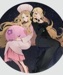 2girls blonde_hair blue_eyes cattleya_(pokemon) closed_eyes dress elite_four full_body fur_collar grey_eyes hair_ornament hair_over_one_eye hat high_heels highres lips long_hair long_sleeves looking_at_viewer multiple_girls musharna night nuku pants pink_lips poke_ball pokemon pokemon_(creature) pokemon_(game) pokemon_bw pokemon_dppt shirona_(pokemon) sitting sky smile star_(sky) starry_sky trench_coat ultra_ball very_long_hair