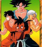4boys black_eyes black_hair blue_eyes child dougi dragon_ball dragonball_z fighting_stance looking_at_viewer mohawk multiple_boys official_art open_mouth serious short_hair son_gokuu son_goten spiky_hair trunks_(dragon_ball) uub wristband