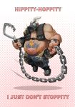 1boy bandolier black_nails camouflage camouflage_pants chains chibi english fat fat_man fingerless_gloves gas_mask gloves grey_hair hook jumprope knee_pads muscle nail_polish navel overwatch pants poem roadhog_(overwatch) shirtless single_pauldron solo spikes studded_bracelet tattoo weapon whistle_frog