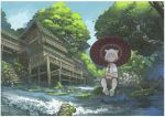 1girl animal_ears cat_ears cat_tail holding holding_umbrella imoman kneehighs original parasol river short_hair sitting solo tail tree umbrella white_hair white_legwear