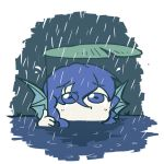 blue_eyes blue_hair head_fins holding lily_pad pond rain sad setz touhou wakasagihime