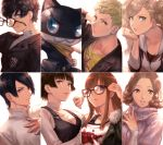 animal black_hair blonde_hair blue_eyes brown_eyes cat fur_trim glasses headphones highres jacket kitagawa_yuusuke kurusu_akira long_hair looking_at_viewer morgana_(persona_5) nekorin_(nekoforest) niijima_makoto okumura_haru orange_hair persona persona_5 red_eyes sakamoto_ryuuji sakura_futaba short_hair smile takamaki_anne twintails