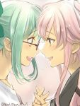 2girls :d blush bow collarbone commentary_request couple eye_contact eyebrows_visible_through_hair face-to-face female glasses green_bow green_eyes green_hair hair_between_eyes hair_bow hair_flaps hand_holding happy highres interlocked_fingers kantai_collection long_hair looking_at_another multiple_girls mutual_yuri neck open_mouth pink_hair primary_stage red-framed_eyewear red-framed_glasses round_teeth shirt sidelocks simple_background smile teeth twitter_username upper_body white_shirt yellow_eyes yura_(kantai_collection) yuri yuubari_(kantai_collection)