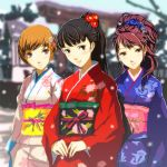3girls amagi_yukiko black_hair blue_flower brown_eyes brown_hair day flower hair_flower hair_ornament head_tilt high_ponytail japanese_clothes kimono kouchin kujikawa_rise long_hair looking_at_viewer multiple_girls obi outdoors parted_lips persona persona_4 red_flower sash satonaka_chie short_hair standing yukata