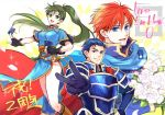 1girl 2boys armor blue_eyes blue_hair cape card dress eliwood eliwood_(fire_emblem) fire_emblem fire_emblem:_rekka_no_ken fire_emblem_cipher gloves green_eyes green_hair hector hector_(fire_emblem) long_hair lyndis_(fire_emblem) multiple_boys nintendo open_mouth ponytail redhead short_hair smile weapon
