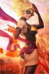 1girl america ass black_gloves black_legwear blonde_hair blue_eyes breasts carol_danvers city domino_mask elbow_gloves eyeshadow fire flag gloves large_breasts leotard lips long_hair looking_back makeup marvel mask ms._marvel new_york parted_lips revision sash solo stanley_lau superhero thigh-highs