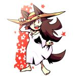 1girl animal_ears barefoot brown_hair commentary dress hat imaizumi_kagerou jewelry nail_polish pendant red_eyes setz simple_background solo straw_hat tail touhou wolf_ears wolf_tail
