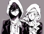 1boy 1girl artist_name blush collarbone glasses greyscale hair_ornament hairclip hood hoodie kurusu_akira looking_at_another monochrome persona persona_5 shinkusora smile takamaki_anne twintails