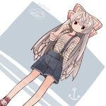 1girl aioi_aoi alternate_costume bangs blue_shorts bow dated dutch_angle fujiwara_no_mokou hair_bow long_hair looking_at_viewer red_eyes red_shoes shirt shoes shorts solo standing striped striped_shirt suspenders touhou very_long_hair white_bow white_hair