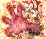 1girl blonde_hair earrings fate/grand_order fate_(series) fire horns ibaraki_douji_(fate/grand_order) japanese_clothes jewelry kimono long_hair looking_at_viewer oni pointy_ears puma_(hyuma1219) smile solo