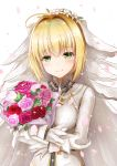 1girl ahoge bangs blonde_hair blush bodysuit bouquet breasts bridal_veil buckle chains closed_mouth commentary_request eyebrows_visible_through_hair fate/extra fate/extra_ccc fate_(series) flower green_eyes hair_flower hair_intakes hair_ornament half-closed_eyes head_tilt highres holding holding_bouquet karu_(qqqtyann) lock long_sleeves looking_at_viewer medium_breasts object_hug padlock petals pink_rose red_flower rose saber_bride saber_extra shiny shiny_hair short_hair simple_background smile solo upper_body veil white_background white_bodysuit white_flower zipper zipper_pull_tab