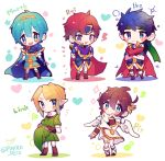 5boys blonde_hair blue_eyes blush bracelet brown_hair cape chibi fire_emblem fire_emblem:_fuuin_no_tsurugi fire_emblem:_monshou_no_nazo fire_emblem:_souen_no_kiseki gloves hat hat_removed headwear_removed highres ike jewelry kid_icarus kid_icarus_uprising link long_hair looking_at_viewer male_focus marth multiple_boys open_mouth pit_(kid_icarus) pointy_ears redhead repikinoko roy_(fire_emblem) short_hair smile super_smash_bros. the_legend_of_zelda the_legend_of_zelda:_twilight_princess tiara triforce wings