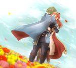 1boy 1girl alm_(fire_emblem) armor cape celica_(fire_emblem) field fire_emblem fire_emblem_echoes:_mou_hitori_no_eiyuuou flower flower_field gloves green_hair highres hug long_hair red_eyes redhead yori_ill