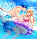 1boy 1girl bikini blonde_hair blue_eyes blue_hair blue_sky breasts buoy clouds feet finn_(fire_emblem) fire_emblem fire_emblem:_seisen_no_keifu hand_holding holding innertube lachesis_(fire_emblem) large_breasts long_hair love nintendo ocean outdoors shorts sky smile soles sparkle summer swim_trunks swimming swimsuit toes tori_ko water yellow_eyes