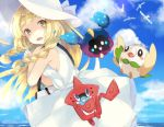 1girl bag bangs bare_shoulders blonde_hair blue_ribbon blue_sky blunt_bangs blush braid breasts clouds collared_dress commentary_request cosmog day dress eyebrows_visible_through_hair green_eyes hat hat_ribbon lillie_(pokemon) long_hair looking_at_viewer mikan_no_shiru no_bra ocean open_mouth outdoors pokemon pokemon_(creature) pokemon_(game) pokemon_sm ribbon rotom_dex rowlet sideboob sky sleeveless sleeveless_dress small_breasts sun_hat sundress twin_braids water white_dress white_hat wingull