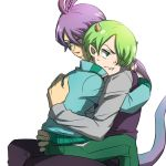 2boys ahoge green_eyes green_hair hair_over_one_eye horns hug hug_from_behind lizard_tail long_hair lowres male_focus michael_wazowski monsters_inc. multiple_boys nagatobi necktie personification pout purple_hair randall_boggs tail vest