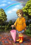 1girl after_rain bangs blue_skirt blue_sky boots brown_eyes brown_hair closed_mouth clouds commentary_request dated day full_body looking_at_viewer original poncho rain rainbow red_footwear rubber_boots short_hair signature skirt sky smile solo standing tree two-tone_footwear umbrella water yellow_footwear yukiman
