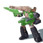 1boy 80s autobot blue_eyes cannon caterpillar_tracks fighting_stance gun hardhead highres holding holding_gun holding_weapon machine machinery mecha no_humans oldschool personification qhon robot shoulder_cannon simple_background smile solo transformers transformers:_the_headmasters weapon white_background
