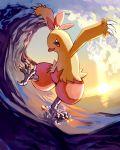 claws combusken kicking leg_lift no_humans ocean pokemon pokemon_(creature) pose red_eyes sky smile solo standing standing_on_liquid sun sunlight sunset surfing water waves yu_(mekeneko1998)