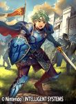1boy alm_(fire_emblem) armor armored_boots boots cape clouds company_name faceless faceless_male fire_emblem fire_emblem_cipher fire_emblem_echoes:_mou_hitori_no_eiyuuou flag furikawa_arika grass green_eyes green_hair headband helmet male_focus official_art open_mouth shield sky solo sword teeth weapon