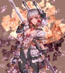 1girl abstract_background alternate_costume bangs belt black_gloves blunt_bangs blush breasts cleavage commentary_request cowboy_shot fingerless_gloves frilled_skirt frills gloves grey_hair hair_ornament hair_ribbon hair_scrunchie headgear holding holding_weapon kantai_collection lance leotard long_hair looking_to_the_side murakumo_(kantai_collection) open_mouth orange_eyes pantyhose polearm puffy_short_sleeves puffy_sleeves ribbon satoyasu scrunchie short_sleeves skirt solo tress_ribbon weapon
