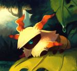 blue_eyes bush forest grass highres larvesta leaf looking_at_viewer lying nature no_humans on_stomach pokemon pokemon_(creature) pokemon_(game) pokemon_bw salanchu tree water water_drop