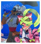 2girls arms_(game) bare_shoulders blonde_hair blue_eyes boxing_gloves bracelet breasts dark_skin domino_mask drill_hair earrings highres jewelry kuruto. long_hair looking_at_viewer mask multicolored_hair multiple_girls nail_polish ponytail ribbon_girl_(arms) ribbon_hair smile twin_drills twintails twintelle_(arms) two-tone_hair very_long_hair
