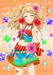 1girl aikatsu! aikatsu!_photo_on_stage!! beads blonde_hair blush bow bracelet character_name closed_eyes flower gem hair_flower hair_ornament hibiscus highlights highres jewelry multicolored_hair musical_note natsuki_mikuru ribbon sleeveless smile tail twin