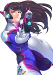 1girl aiming_at_viewer bangs blue_bodysuit bodysuit breasts brown_eyes brown_hair clothes_writing d.va_(overwatch) facepaint facial_mark foreshortening gloves gun handgun headphones high_collar holding holding_gun holding_weapon ken19941028 light_smile long_hair looking_at_viewer medium_breasts overwatch pilot_suit pink_lips pistol ribbed_bodysuit shoulder_pads simple_background skin_tight solo swept_bangs weapon whisker_markings white_background white_gloves