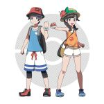 1boy 1girl :d asatsuki_(fgfff) backpack bag bare_legs bare_shoulders black_hair blue_boots blue_eyes boots braid bucket_hat female_protagonist_(pokemon_ultra_sm) flat_chest flower full_body hair_flaps hat highres holding legwear_under_shorts long_hair looking_at_viewer male_protagonist_(pokemon_ultra_sm) official_style open_eyes open_mouth poke_ball pokemon pokemon_(game) pokemon_ultra_sm pose shirt short_hair short_sleeves shorts simple_background sleeveless sleeveless_shirt smile standing sun_hat t-shirt tank_top twin_braids white_background white_shorts z-ring