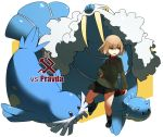 1girl bangs black_legwear black_shoes black_skirt blonde_hair blue_eyes emblem english full_body girls_und_panzer green_jacket hand_on_hip holding jacket katyusha loafers long_sleeves miniskirt orihika parted_lips pleated_skirt poke_ball pokemon pokemon_(creature) pravda_(emblem) pravda_school_uniform red_shirt school_uniform sealeo shirt shoes short_hair skirt socks spheal standing turtleneck walrein