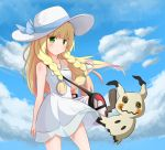 1girl bangs bare_shoulders blonde_hair blue_ribbon blue_sky blunt_bangs blush braid breasts closed_mouth clouds collared_dress cowboy_shot d_z day dress dress_lift eyebrows_visible_through_hair green_eyes hair_tie hat hat_ribbon highres holding holding_poke_ball lillie_(pokemon) long_hair looking_at_viewer mimikyu outdoors poke_ball pokemon pokemon_(creature) pokemon_(game) pokemon_sm premier_ball ribbon see-through sky sleeveless sleeveless_dress small_breasts standing sun_hat sundress twin_braids very_long_hair white_dress white_hat wind wind_lift
