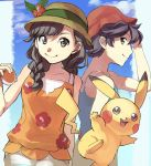 1boy 1girl bare_shoulders black_hair blue_sky braid bucket_hat closed_mouth clouds cloudy_sky day eyebrows female_protagonist_(pokemon_ultra_sm) flat_chest flower from_side hair_between_eyes hair_flaps hand_on_own_head hat highres holding long_hair looking_at_viewer looking_to_the_side male_protagonist_(pokemon_ultra_sm) open_eyes orange_shirt pikachu poke_ball pokemon pokemon_(game) pokemon_ultra_sm shirt short_hair shorts simple_background sky sleeveless sleeveless_shirt smile standing tank_top upper_body white_shirt white_shorts yu_(mekeneko1998)