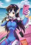 1girl animal_print bangs beach blue_bodysuit blue_sky bodysuit breasts brown_eyes brown_hair bunny_print cellphone covered_navel cowboy_shot d.va_(overwatch) day doritos facepaint facial_mark gloves headphones high_collar holding holding_phone impossible_bodysuit impossible_clothes long_hair looking_at_viewer mecha medium_breasts meka_(overwatch) outdoors overwatch phone pilot_suit pink_lips ribbed_bodysuit shore shoulder_pads sitting sitting_on_object skin_tight sky smartphone smile solo swept_bangs takejun v whisker_markings white_gloves
