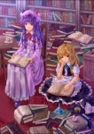 2girls black_hat blue_bow book book_stack bookshelf bow chair crystal cup hair_bow hat hat_bow hat_removed hat_ribbon headwear_removed holding holding_book kirisame_marisa long_hair long_sleeves looking_at_another mini-hakkero multiple_girls open_book patchouli_knowledge plate puffy_short_sleeves puffy_sleeves purple_hair reading red_bow ribbon short_sleeves sitting smile spoon table tea teacup teiraa touhou violet_eyes white_bow white_ribbon witch_hat