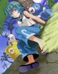 1girl alolan_exeggutor arm_support bare_shoulders blue_eyes blue_hair blue_sailor_collar blue_sky bucket capri_pants closed_mouth clouds day flat_chest from_below full_body grass hairband highres looking_at_viewer open_eyes palm_tree pants pavement pokeball_symbol pokemon pokemon_(creature) pokemon_(game) pokemon_sm popplio shirt short_hair sitting sky sleeveless slippers smile solo suiren_(pokemon) swimsuit swimsuit_under_clothes tree trial_captain wishiwashi yu_(mekeneko1998)