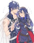 1boy 1girl armor blue_eyes blue_hair blush cape father_and_daughter fingerless_gloves fire_emblem fire_emblem:_kakusei gloves krom long_hair lucina one_eye_closed open_mouth short_hair smile sword tiara weapon