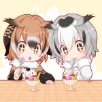 2girls :o black_hair blush brown_hair cherry coat eurasian_eagle_owl_(kemono_friends) food fruit fur_collar hair_between_eyes hand_on_own_cheek head_wings holding holding_spoon japari_symbol kemono_friends kotomi_(happy_colors) long_sleeves multicolored_hair multiple_girls northern_white-faced_owl_(kemono_friends) pudding short_hair sparkling_eyes spoon_in_mouth sweets triangle_mouth twitter_username upper_body whipped_cream white_hair