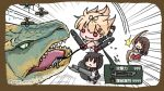 3girls aircraft akagi_(kantai_collection) bangs blonde_hair blush bow_(weapon) braid brown_hair chibi flying_sweatdrops hair_flaps hair_ornament hair_ribbon hairclip kantai_collection lance long_hair monster_hunter multiple_girls open_mouth pleated_skirt polearm red_eyes remodel_(kantai_collection) ribbon sailor_collar sattsu school_uniform serafuku shigure_(kantai_collection) skirt speed_lines teeth tigrex torpedo twitter_username weapon yuudachi_(kantai_collection)