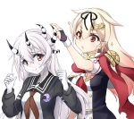 2girls adapted_costume black_jacket black_ribbon black_sailor_collar black_serafuku blonde_hair brown_eyes crescent crescent_moon_pin dark_persona gradient_hair hair_flaps hair_ornament hairclip heterochromia horns jacket kantai_collection kisaragi_(kantai_collection) long_hair minosu multicolored_hair multiple_girls neckerchief red_eyes red_neckerchief red_scarf remodel_(kantai_collection) ribbon scarf school_uniform serafuku shinkaisei-kan simple_background spoilers white_background white_hair white_scarf yuudachi_(kantai_collection)