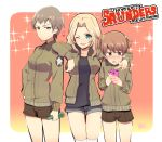 3girls alisa_(girls_und_panzer) arm_around_neck arm_on_shoulder artist_name bangs black_shirt black_shorts blonde_hair blue_eyes blush brown_eyes brown_hair brown_jacket cellphone closed_mouth dated denim denim_shorts embarrassed emblem english freckles girls_und_panzer hair_intakes hair_ornament heart holding holding_cellphone holding_phone jacket kay_(girls_und_panzer) long_hair long_sleeves looking_at_viewer military military_uniform multiple_girls naomi_(girls_und_panzer) one_eye_closed open_clothes open_jacket open_mouth phone raki_(kuroe) saunders_military_uniform shirt short_hair short_shorts short_twintails shorts signature smartphone smile soda_bottle sparkle standing star star_hair_ornament sweatdrop thigh-highs twintails uniform very_short_hair white_legwear