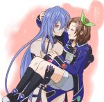 2girls bare_shoulders blue_hair blush bow breasts brown_hair carrying female flauschtraut hair_ornament hand_on_another's_chest hand_on_another's_head if_(choujigen_game_neptune) iris_heart long_hair looking_at_another multiple_girls neptune_(series) open_mouth princess_carry purple_hair pururut red_eyes smile symbol-shaped_pupils very_long_hair yuri